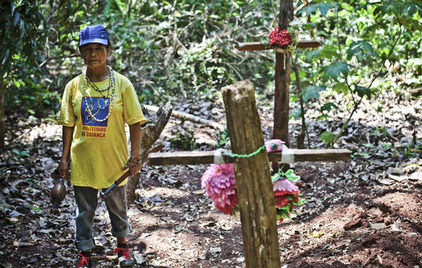 Damiana Cavanha, líder da comunidade Apy Ka'y, viu as mortes de três de seus filhos e seu marido. Ela está determinada e planeja retomar sua terra ancestral onde eles estão todos enterrados.