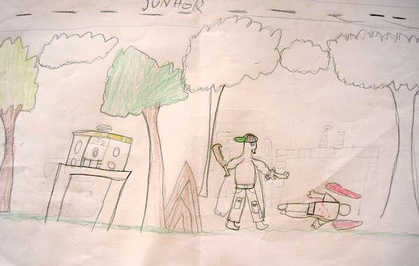 Diese Zeichnung eines Guarani-Kindes zeigt einen Bewaffneten, wie er ein Mitglied der Guarani-Gemeinde tötet