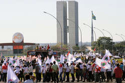 Indians and activists march against the Belo Monte dam in Brasília, Brazil, 2010.