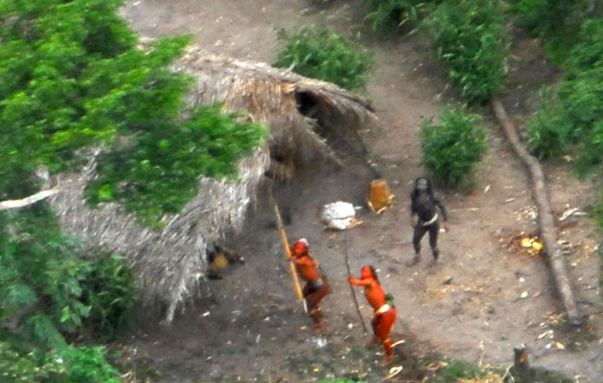 Uncontacted Indians in Brazil show they dont want contact with outsiders. Photo taken in 2008.