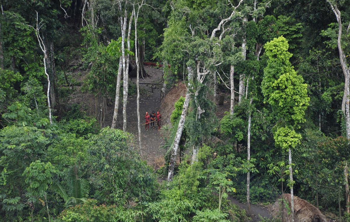 Indígenas isolados vistos do ar durante uma expedição do governo brasileiro em 2010. Homens pintados com tinta vegetal vermelha e preta observam o avião do governo brasileiro.
