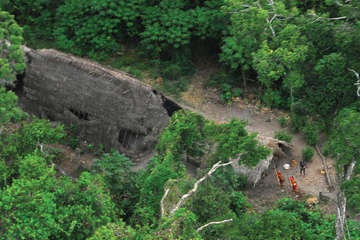 Uncontacted Indians in Brazil seen from the air during a Brazilian government expedition, 2008.