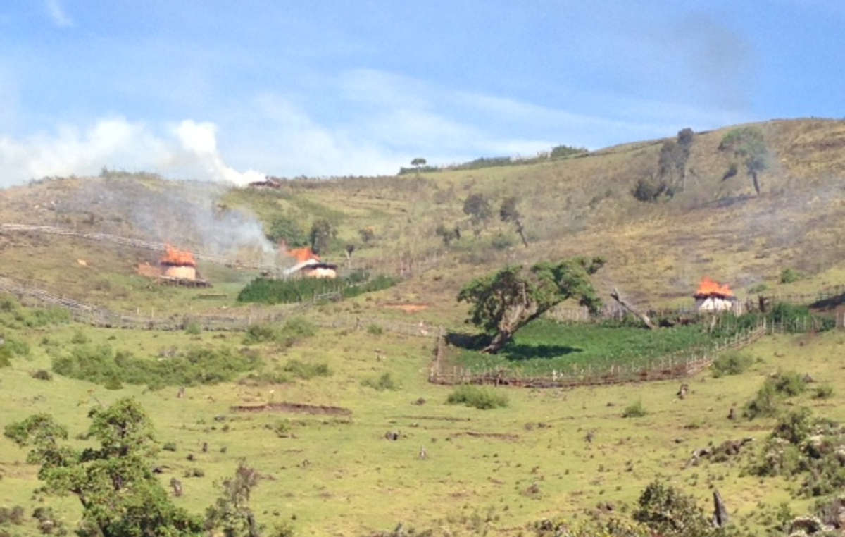 Homes of the Sengwer tribe in Kenya's Cherangany Hills torched by forest guards, January 2014.