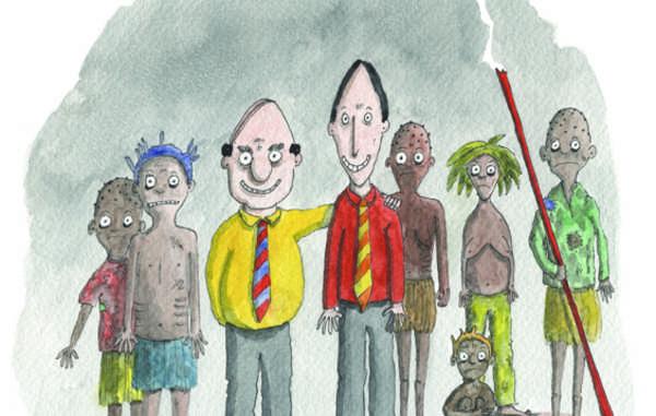 Der satirische Zeichentrickfilm 'Da habt ihr's!', gesprochen vom Schauspieler Jan van Weyde, zeigt wie im Namen von 'Entwicklung' Raubbau an Land und Ressourcen indigener Völker betrieben wird.