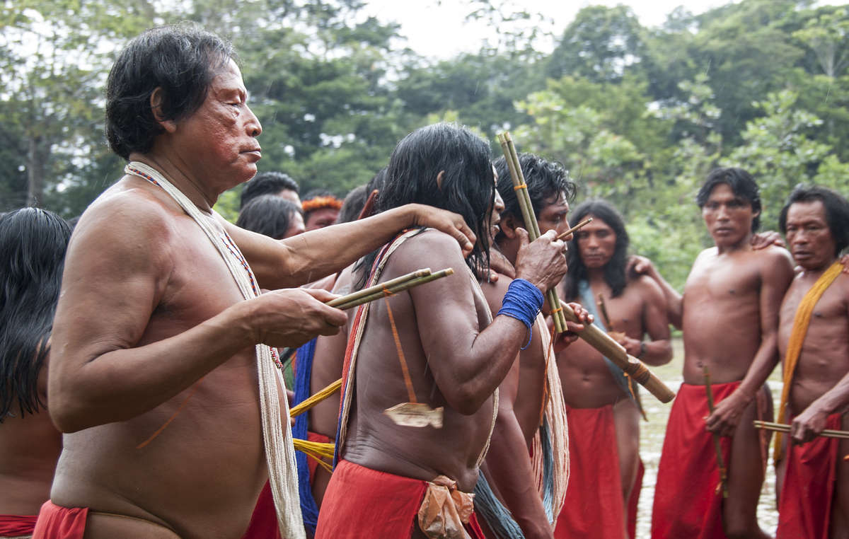 Wajãpi men in the northern Brazilian Amazon