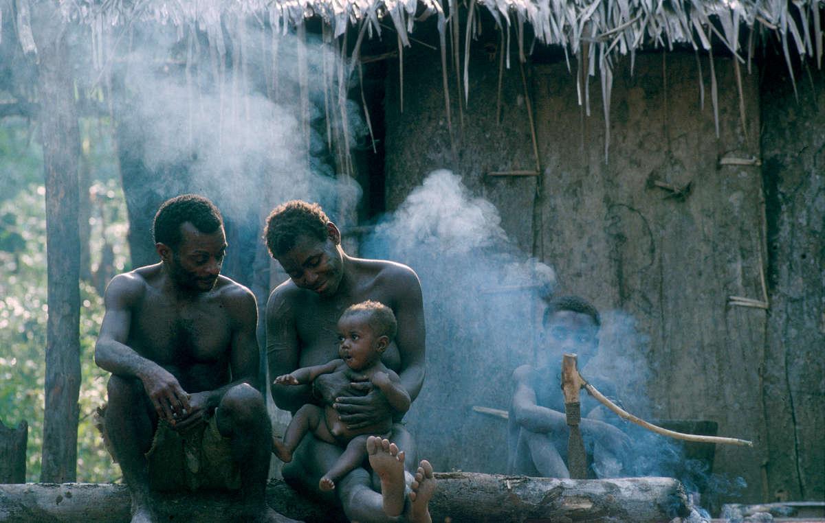Entre os Bayaka, os cuidados com as crianças são compartilhados com os pais que passam até metade do dia perto de seus bebês.