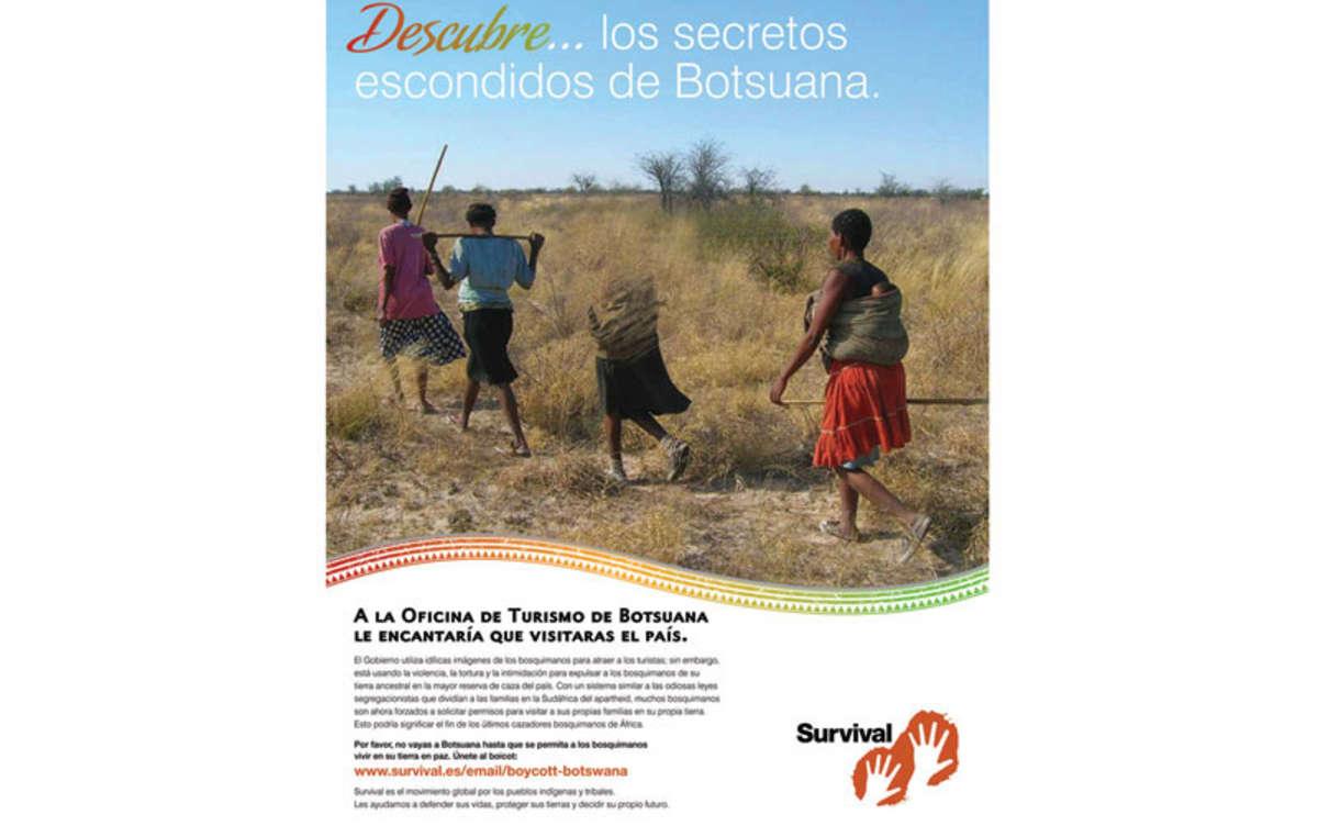 El nuevo anuncio de Survival alienta a los turistas a boicotear Botsuana por su trato a los bosquimanos.