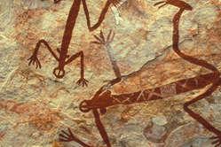 Höhlenmalereien der AborigineWesten des Arnhemlands, Australien.