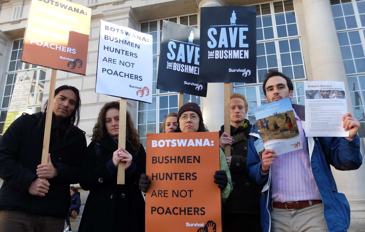 Vocal protests were held outside the London Conference on the Illegal Wildlife Trade 2014 today to highlight the plight of Africas last hunting Bushmen.