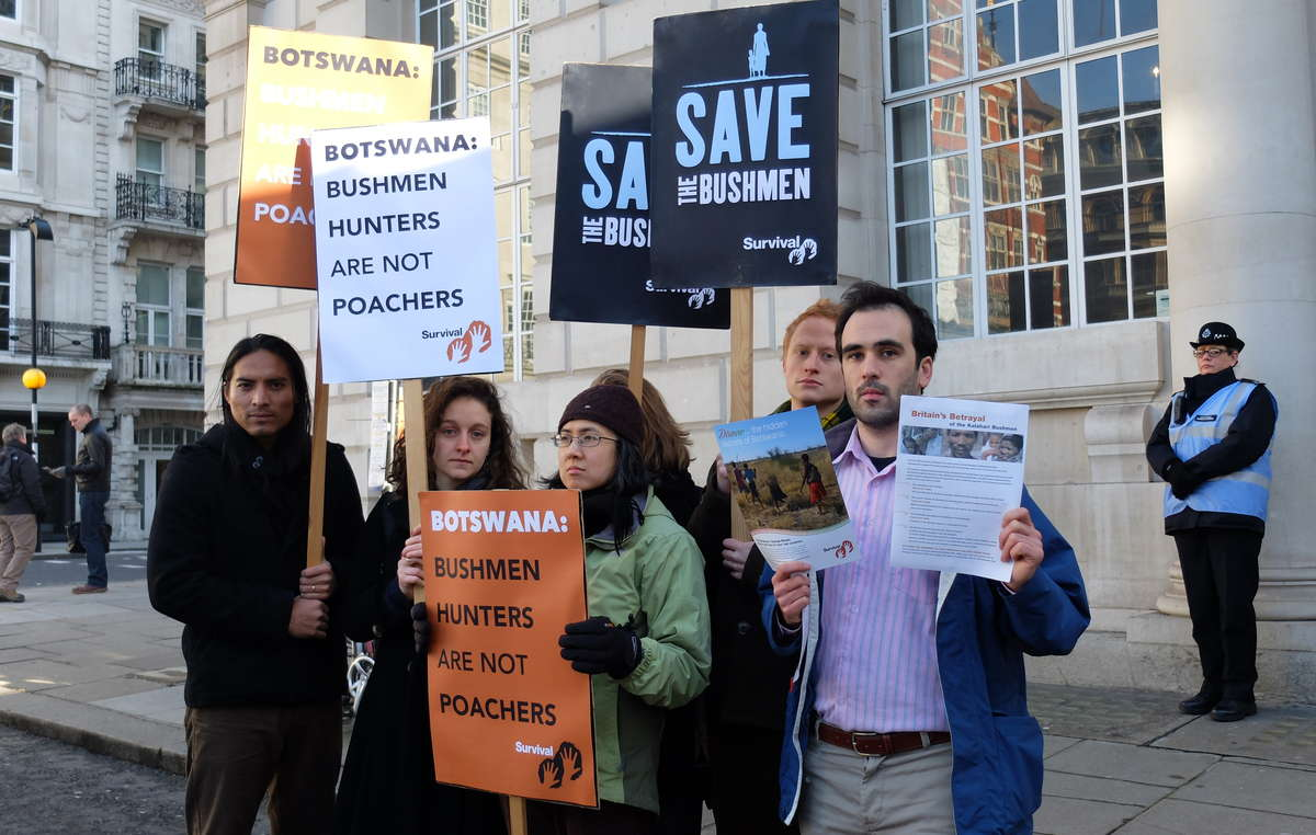 Protesters outside the London Conference on the Illegal Wildlife Trade 2014.
