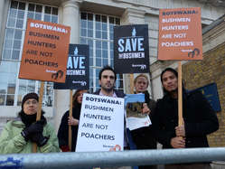 """""""Protesters outside the 'London Conference on the Illegal Wildlife Trade 2014'."""""""