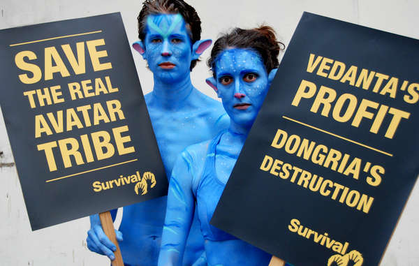 Two Na'vi protested outside Vedanta's AGM.