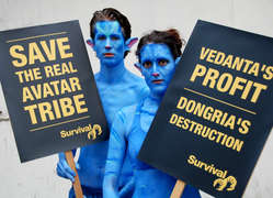 Two Na'vi protested outside Vedanta's AGM.