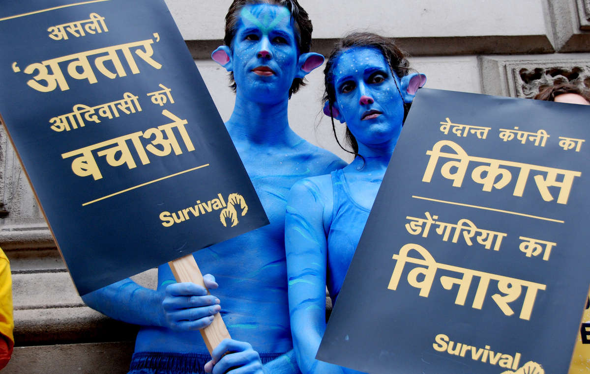 Two Na'vi protested outside Vedanta's AGM, July 2010