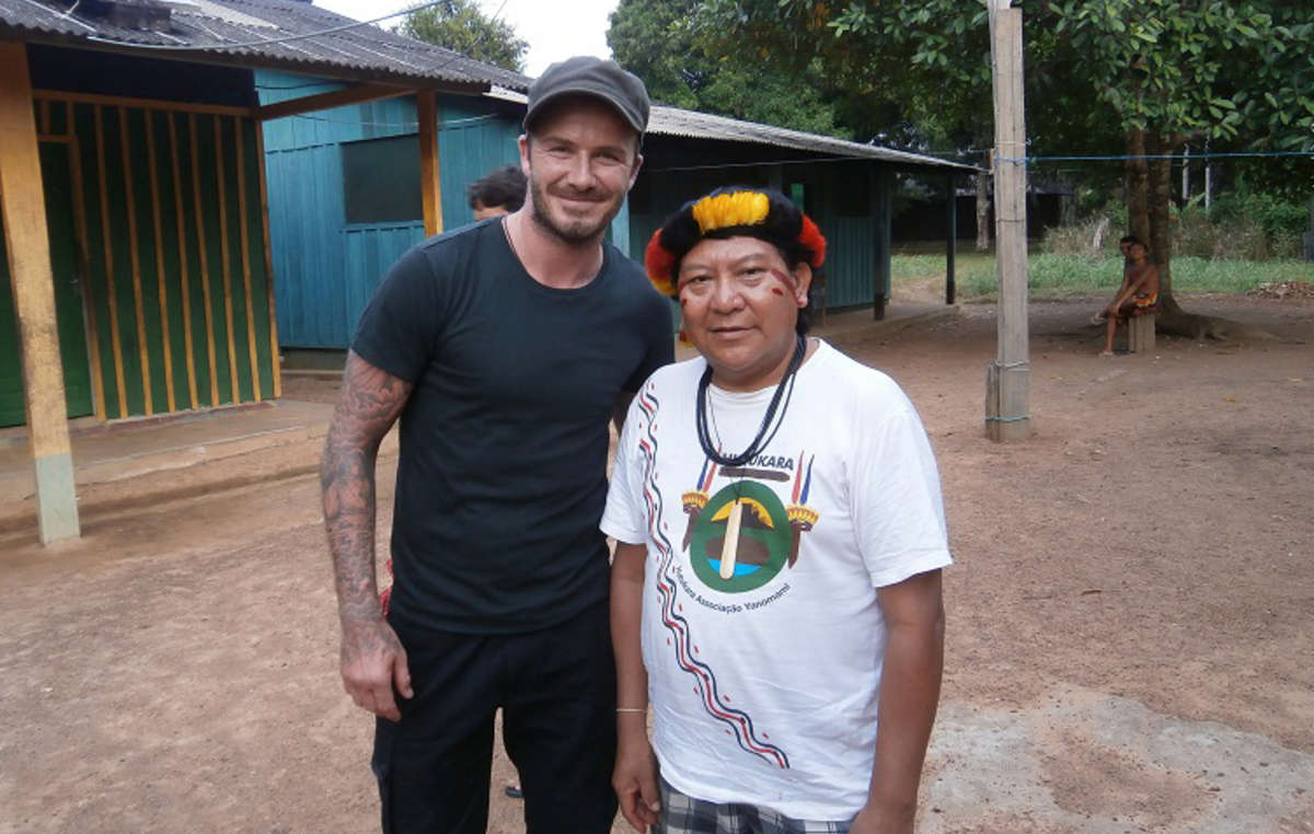 Beckham and Davi talked about the problems that the Yanomami face, especially the illegal gold-mining on their land.