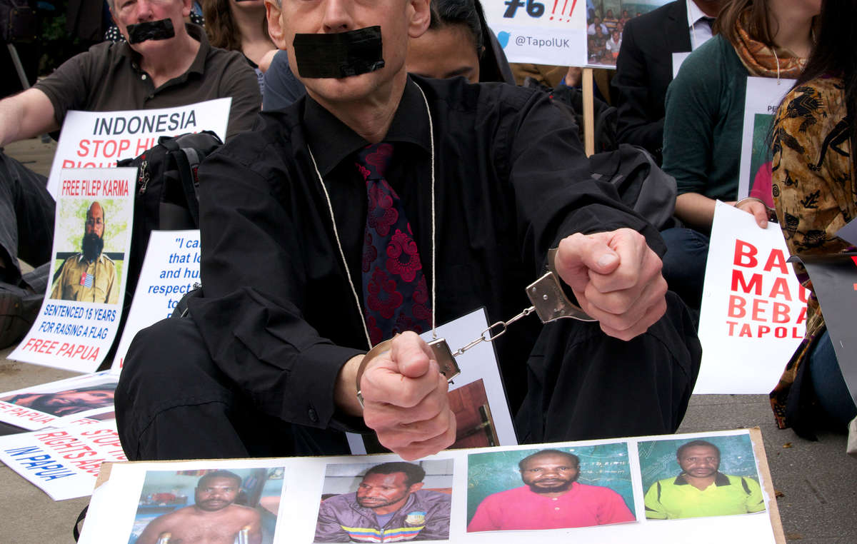 Human rights activist Peter Tatchell took part in the protest today in London.