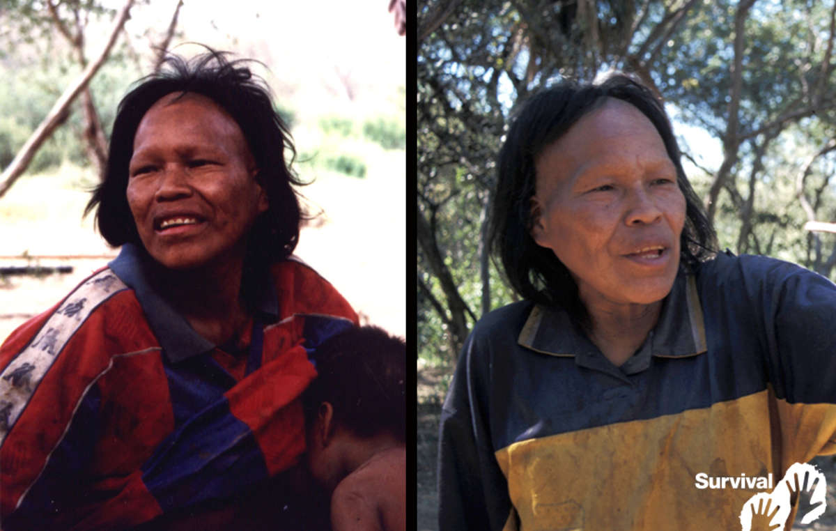Ibore Picanerai healthy on the day she was forced out of the forest in 1998 (left), and suffering from a TB-like illness in 2003 (right). She died in 2009.