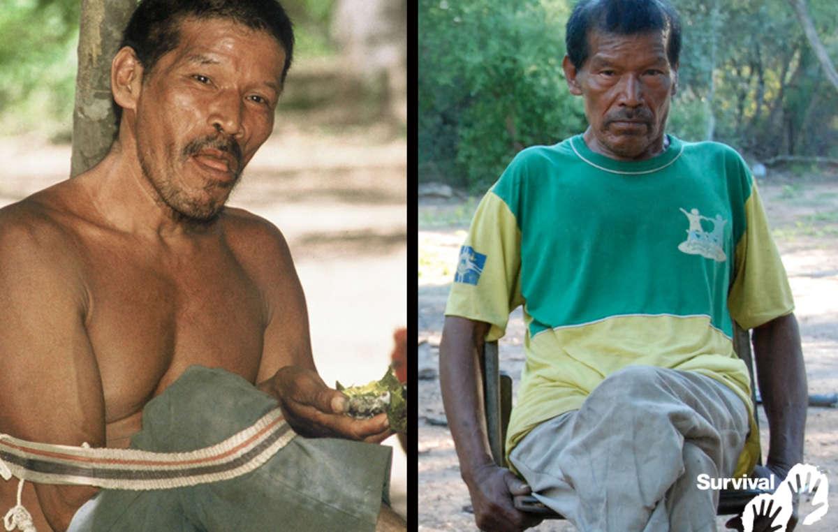 Chiri Etacore en pleine santé en 2000 (à gauche), et gravement atteint de la tuberculose en 2011 (à droite). Il est mort en 2013.