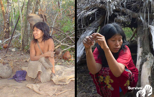 Nguiejna Etacoro en pleine santé le jour où elle a été contactée en 2004 (à gauche), et déjà atteinte de la tuberculose en 2007 (à droite). Elle est aujourd'hui gravement malade.