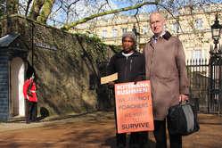 """Gakelebone had to travel 5,000 miles to meet the Bushmen's lawyer Gordon Bennett, who has been banned from Botswana."""