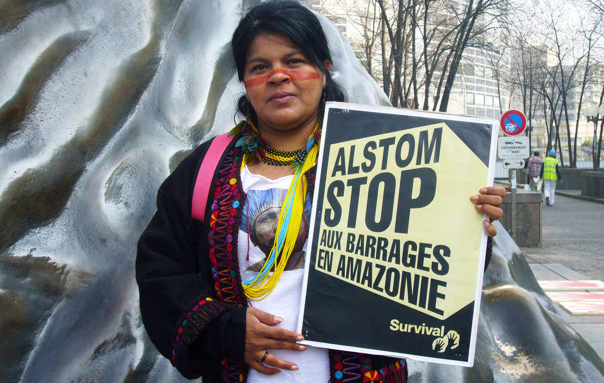 Sonia Guajajara, a prominent indigenous activist, at a protest in Paris in 2014.