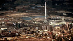 Vedanta's aluminium refinery at Lanjigarh, Odisha, seen from the Niyamgiri Hills