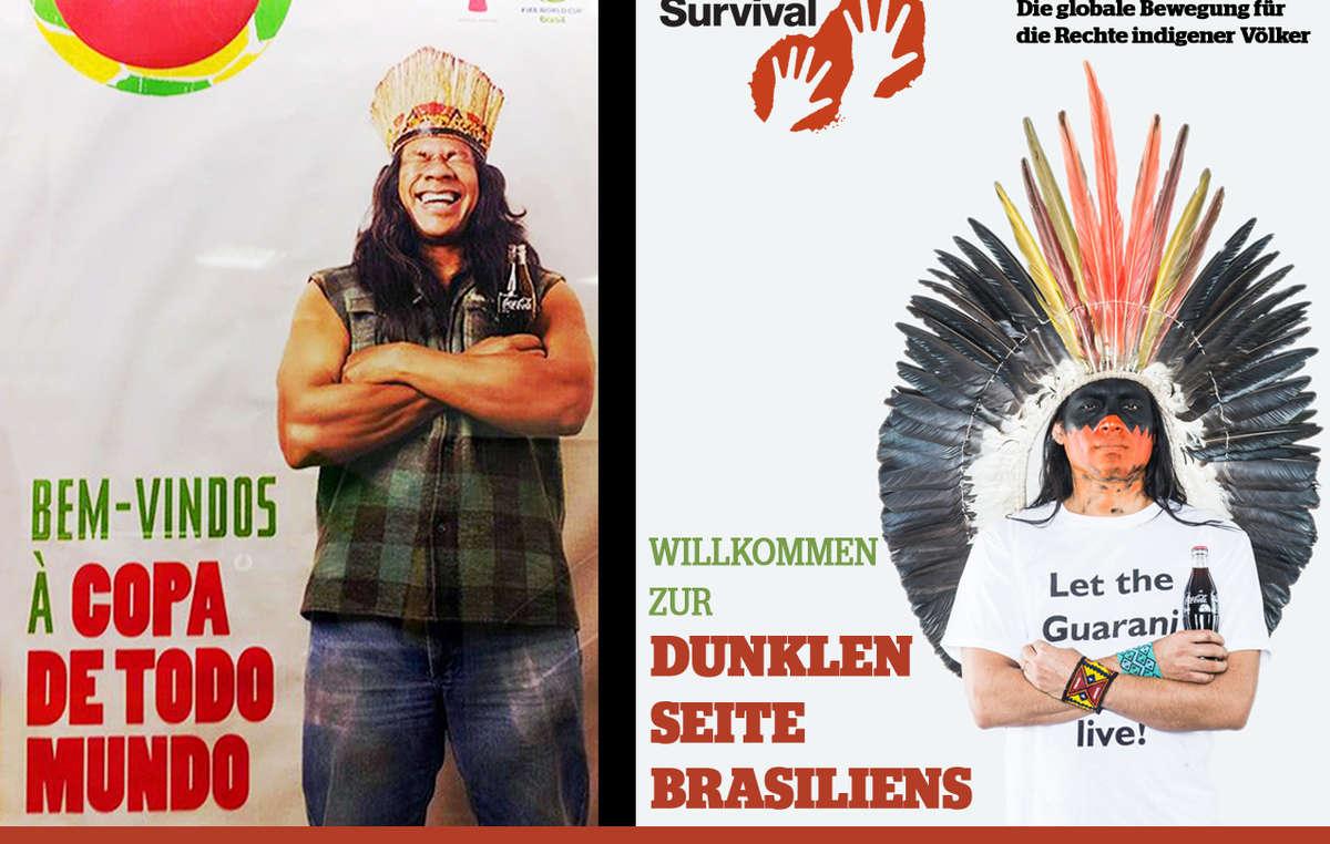 Der Werbung von Coca-Cola und der FIFA wurde das Bild eines Indianers gegenübergestellt, der fordert: Lasst die Guarani leben!