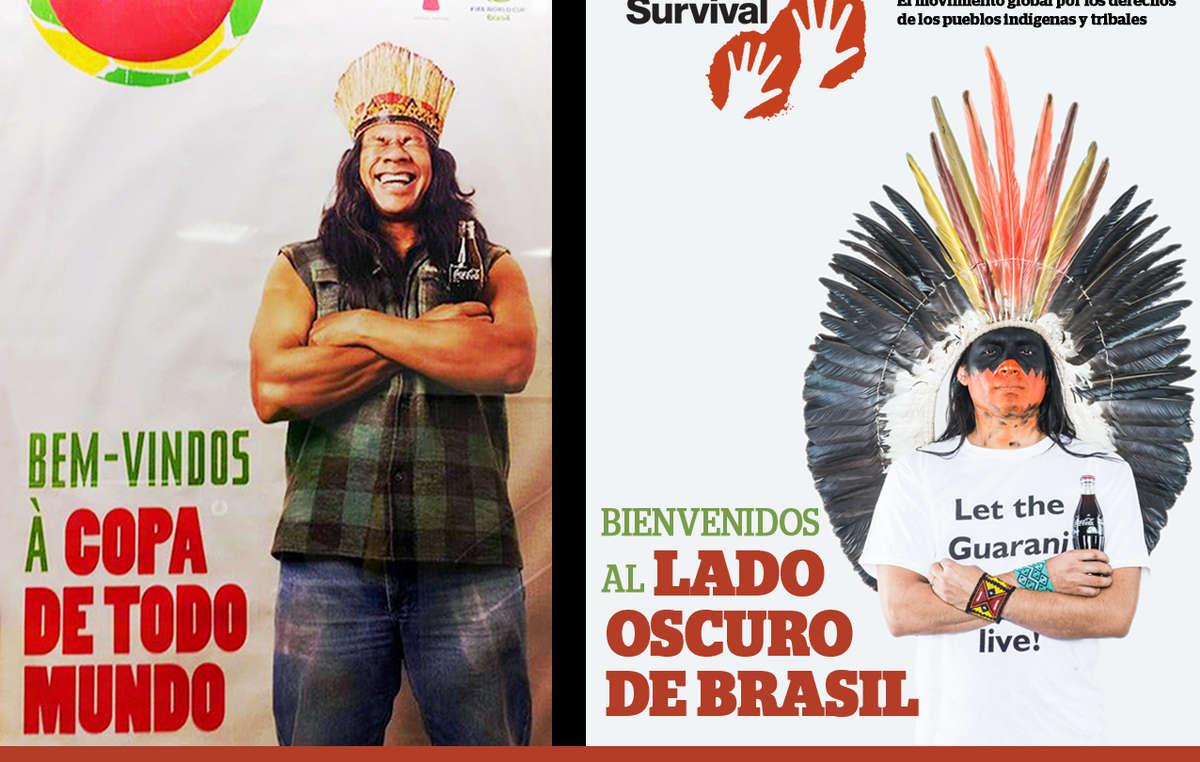 """La imagen de Coca-Cola y la FIFA ha sido contrastada con la de un hombre indígena indignado que demanda """"¡Dejen vivir a los guaraníes!""""."""