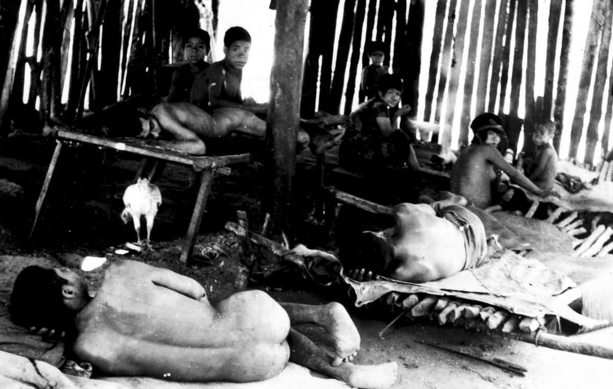 "Aché Indians shortly after they were captured in ""manhunts"" and brought out of the forest, 1970s, eastern Paraguay."
