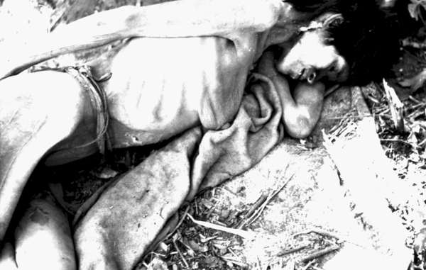 An Aché woman shortly after she was captured and brought out of the forest to the Aché Reservation. Paraguay, 1972.
