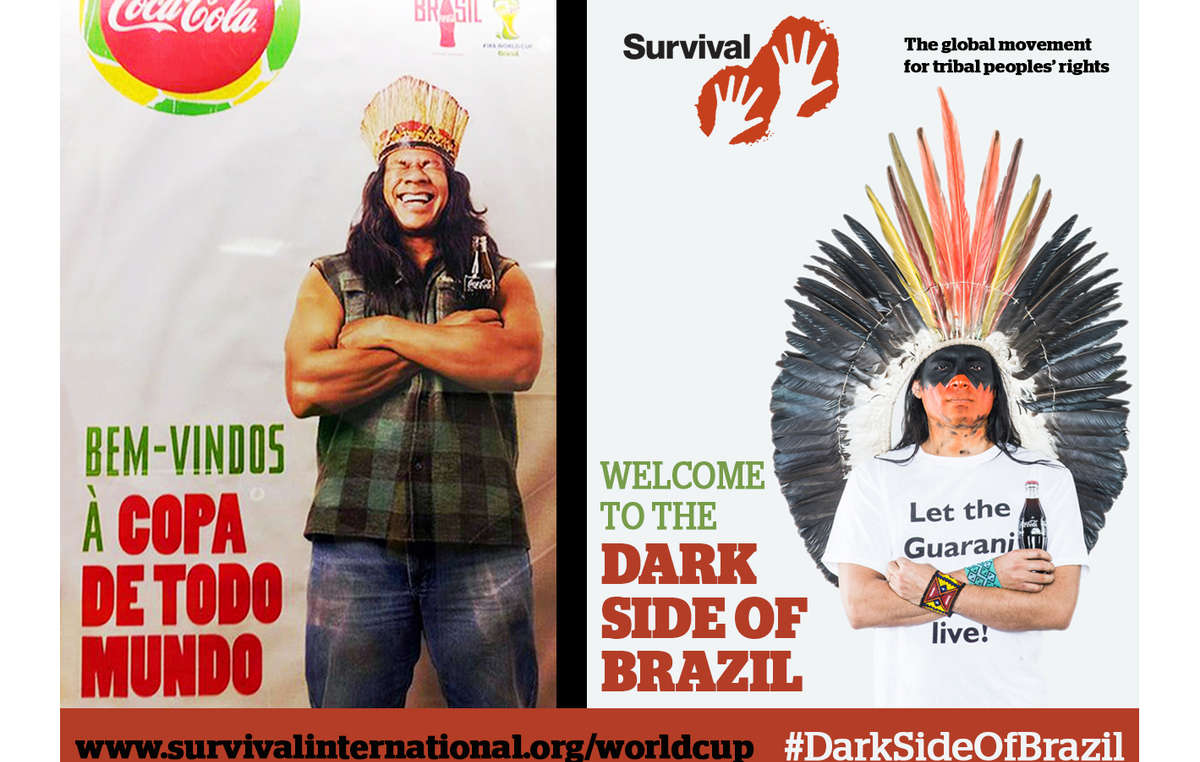 Coca-Cola and FIFAs image has been contrasted with an angry Indian man demanding, Let the Guarani live!