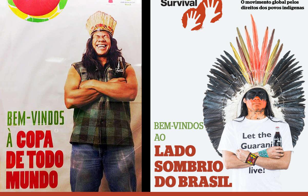 A imagem da Coca-Cola e FIFA foi contrastada com um homem indígena zangado instando, 'Deixe os Guarani viverem!'
