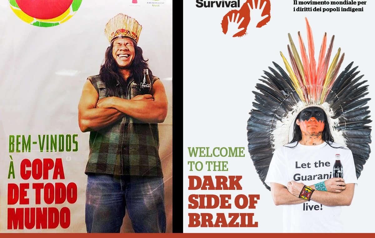 A sinistra, la campagna pubblicitaria originale di Coca-Cola e FIFA. A destra, quella provocatoria di Survival, in cui un Indiano chiede Lasciate vivere i Guarani!