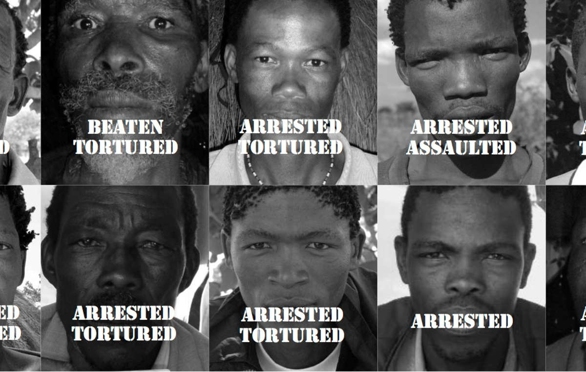 Bushmen men who have been arrested and tortured for hunting to feed their families, Botswana.