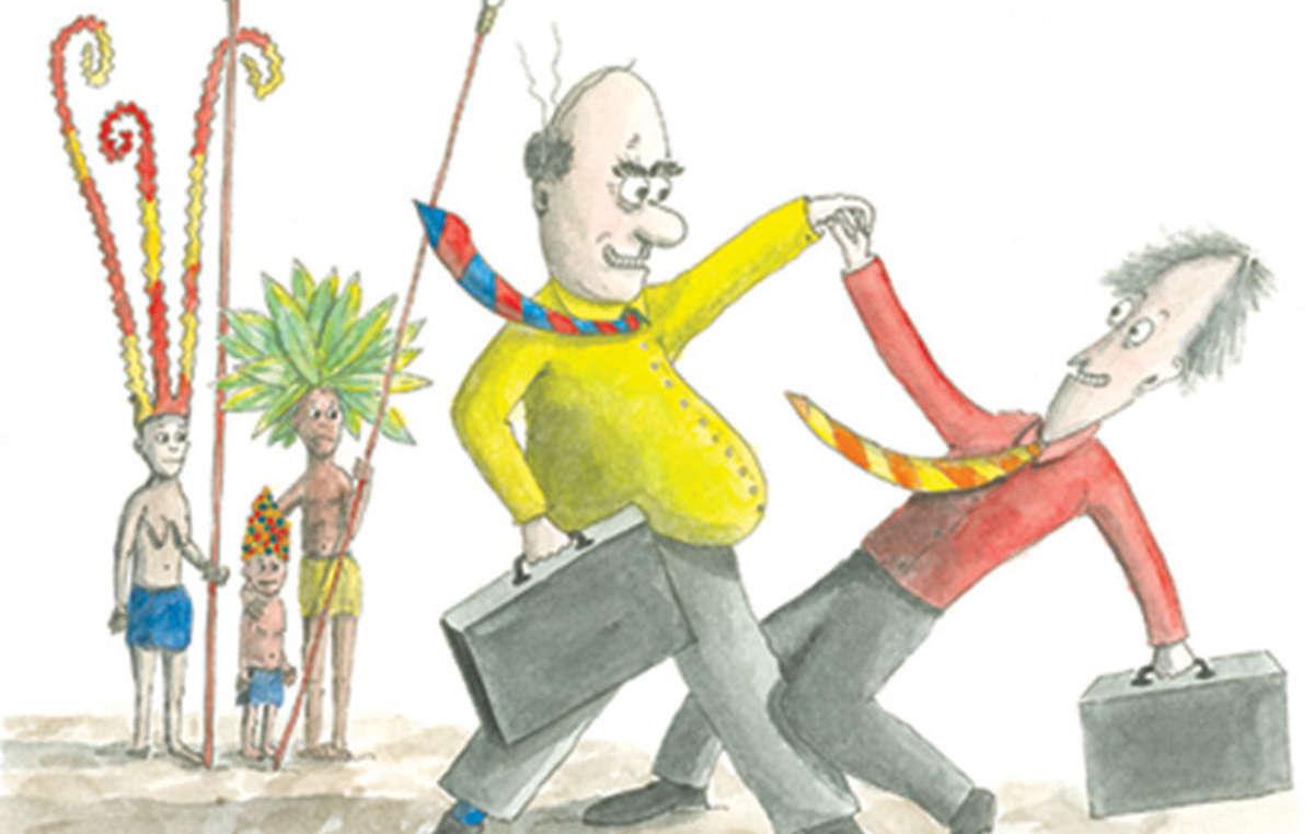 Dans le dessin animé satirique 'Laissez-nous faire!', des experts prétendent apporter le 'développement durable' à une tribu imaginaire. Au lieu de cela, ils apportent la destruction.