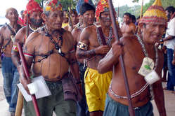 Indians protest against dams in the Amazon