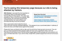 Visitors to Survivals website see a temporary message.