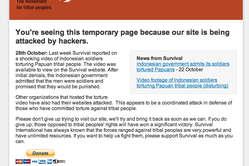 Les internautes qui se rendront sur la version anglaise du site de Survival verront ce message provisoire.