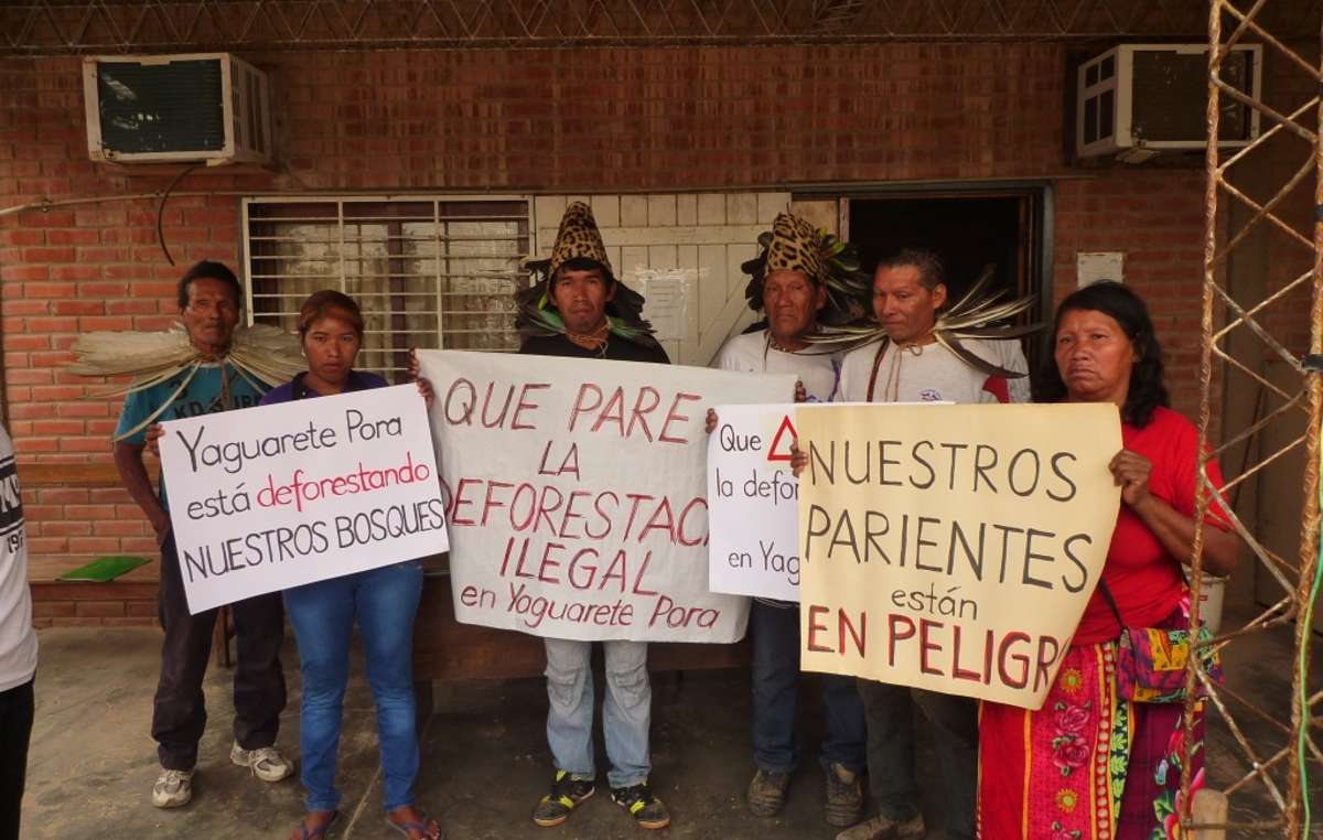 Ayoreo Indians protest against Yaguareté Porã S.A. which is rapidly destroying their forest home for beef production.