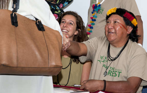 Davi Yanomami sold and signed dozens of copies of his groundbreaking book, 'The Falling Sky'.