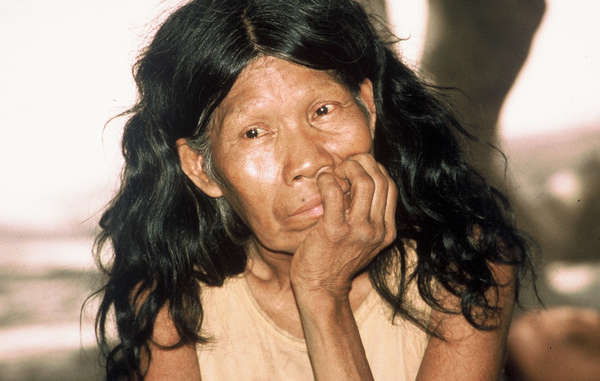 A Totobiegosode woman after she was forced out of the forest, Paraguayan Chaco.