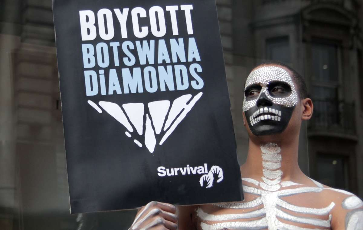 In 2010 Survival called for a boycott of Botswana diamonds over the governments treatment of the Kalahari Bushmen.