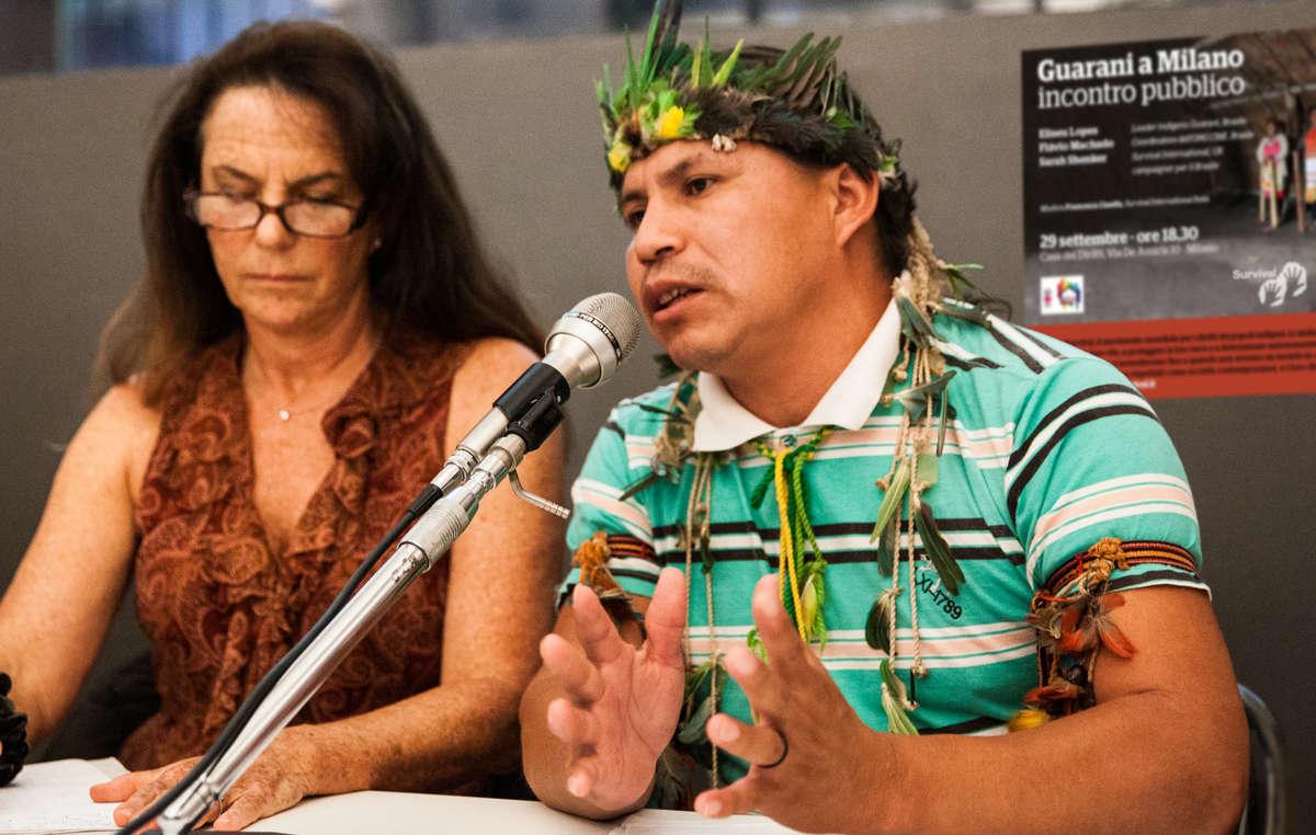 Guarani-Anführer Eliseu Lopes besuchte Europa, um Unterstützung für sein Volk zu erbitten.