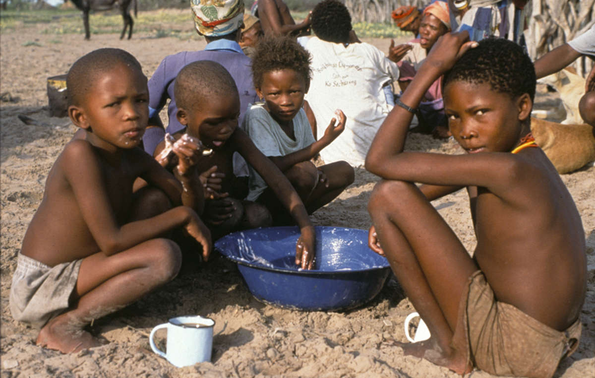 The first President Khama respected the Bushmen's right to live on their ancestral land in the Kalahari, but most have since been illegally evicted and forced to live in government camps.